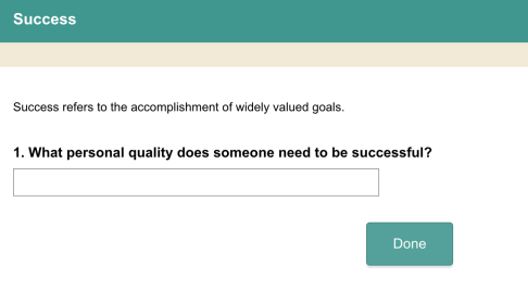 Survey Question of What Personal Quality Does Someone need to be successful?