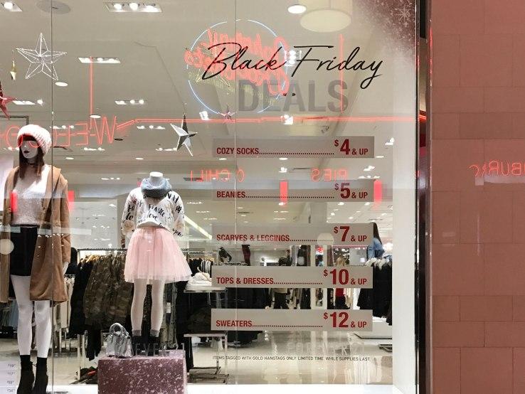 Window Display of Black Friday Deals